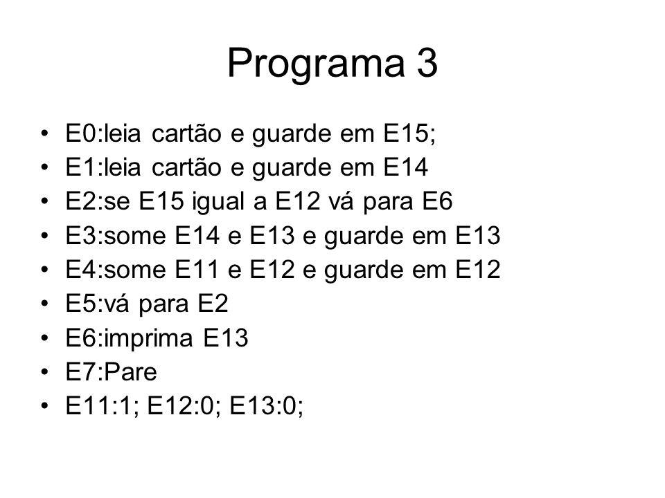 Programa 3 •E0:leia cartão e guarde em E15; •E1:leia cartão e guarde em E14 •E2:se E15 igual a E12 vá para E6 •E3:some E14 e E13 e guarde em E13 •E4:s