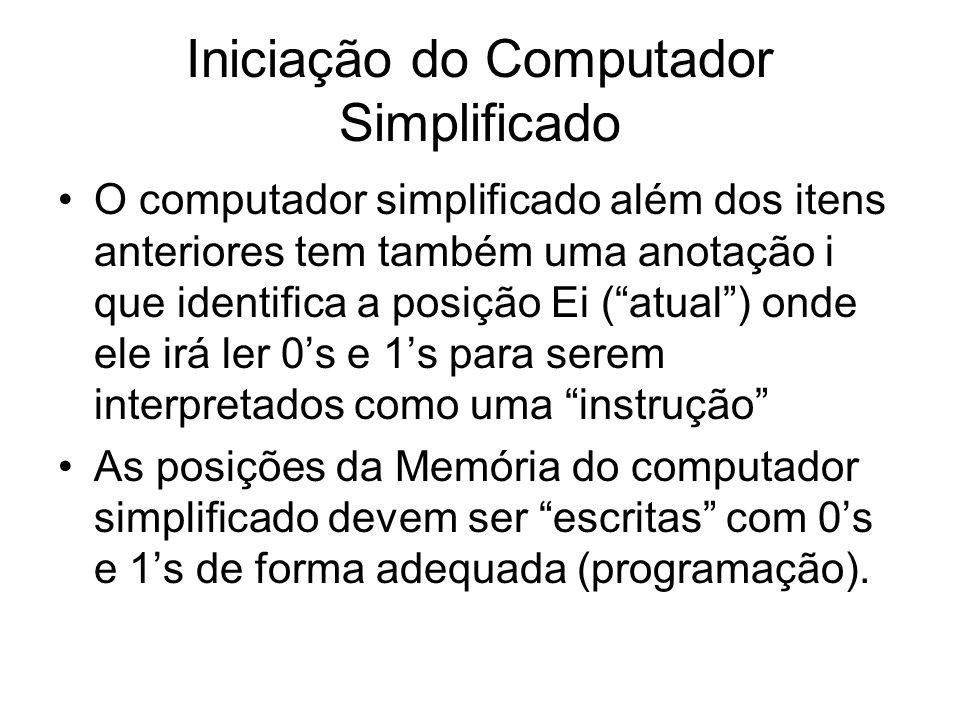 """Iniciação do Computador Simplificado •O computador simplificado além dos itens anteriores tem também uma anotação i que identifica a posição Ei (""""atua"""