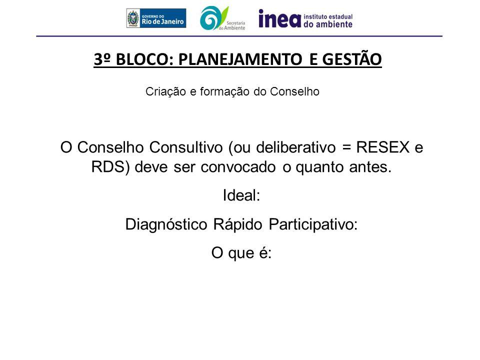 3º BLOCO: PLANEJAMENTO E GESTÃO Criação e formação do Conselho O Conselho Consultivo (ou deliberativo = RESEX e RDS) deve ser convocado o quanto antes