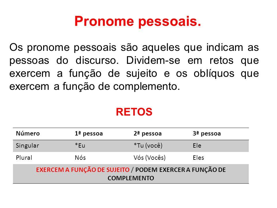 Pronome pessoais.Os pronome pessoais são aqueles que indicam as pessoas do discurso.