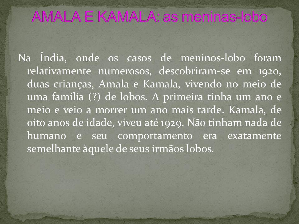 Na Índia, onde os casos de meninos-lobo foram relativamente numerosos, descobriram-se em 1920, duas crianças, Amala e Kamala, vivendo no meio de uma f