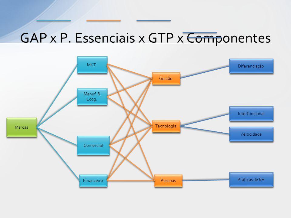 GAP x P. Essenciais x GTP x Componentes Manuf. & Lcog. Gestão Marcas Tecnologia Pessoas Comercial Financeiro Interfuncional Velocidade Diferenciação P