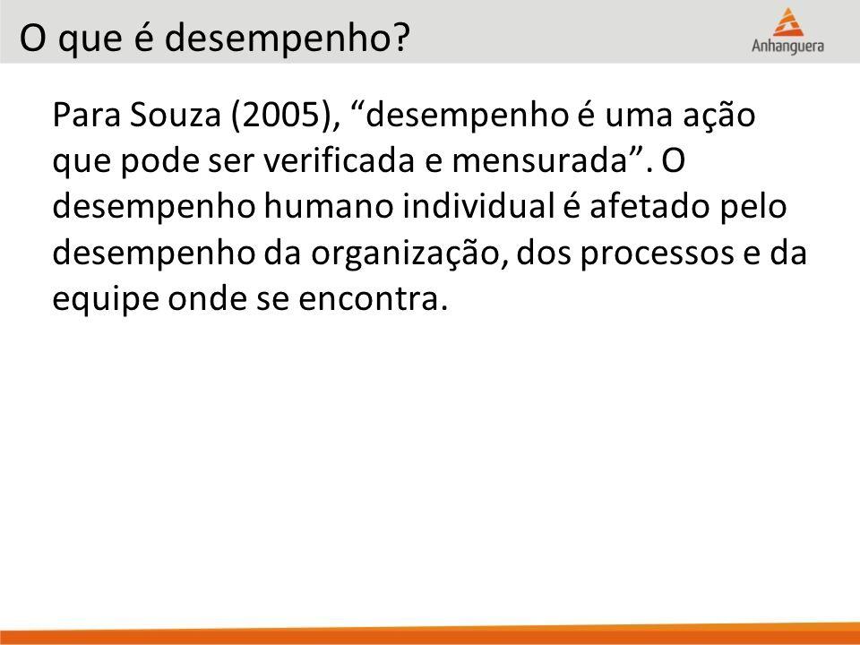 """O que é desempenho? Para Souza (2005), """"desempenho é uma ação que pode ser verificada e mensurada"""". O desempenho humano individual é afetado pelo dese"""