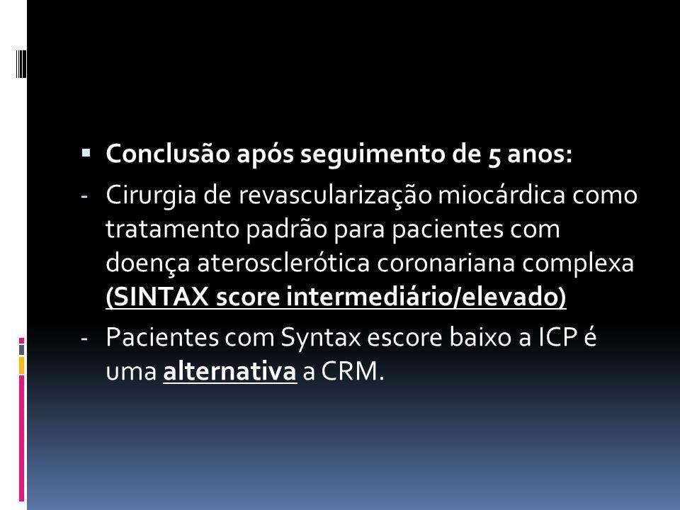 Conclusão após seguimento de 5 anos: - Cirurgia de revascularização miocárdica como tratamento padrão para pacientes com doença aterosclerótica coro