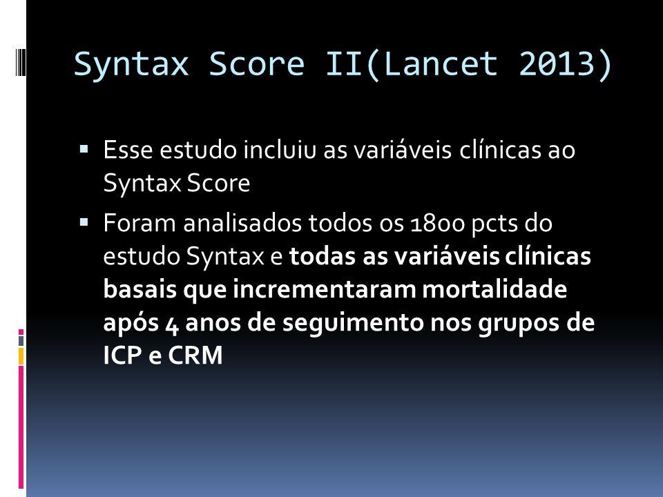 Syntax Score II(Lancet 2013)  Esse estudo incluiu as variáveis clínicas ao Syntax Score  Foram analisados todos os 1800 pcts do estudo Syntax e toda