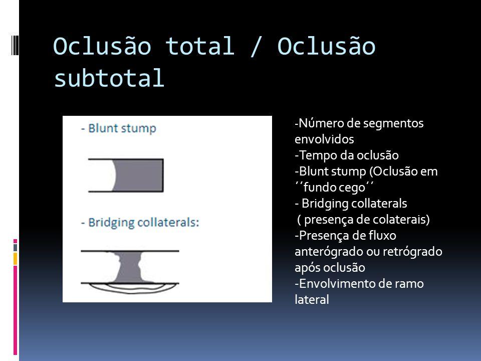 Oclusão total / Oclusão subtotal - Número de segmentos envolvidos -Tempo da oclusão -Blunt stump (Oclusão em ´´fundo cego´´ - Bridging collaterals ( p