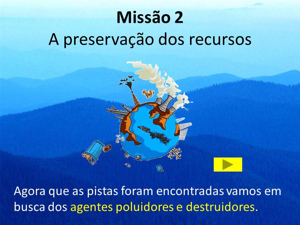 Missão 2 A preservação dos recursos Agora que as pistas foram encontradas vamos em busca dos agentes poluidores e destruidores.