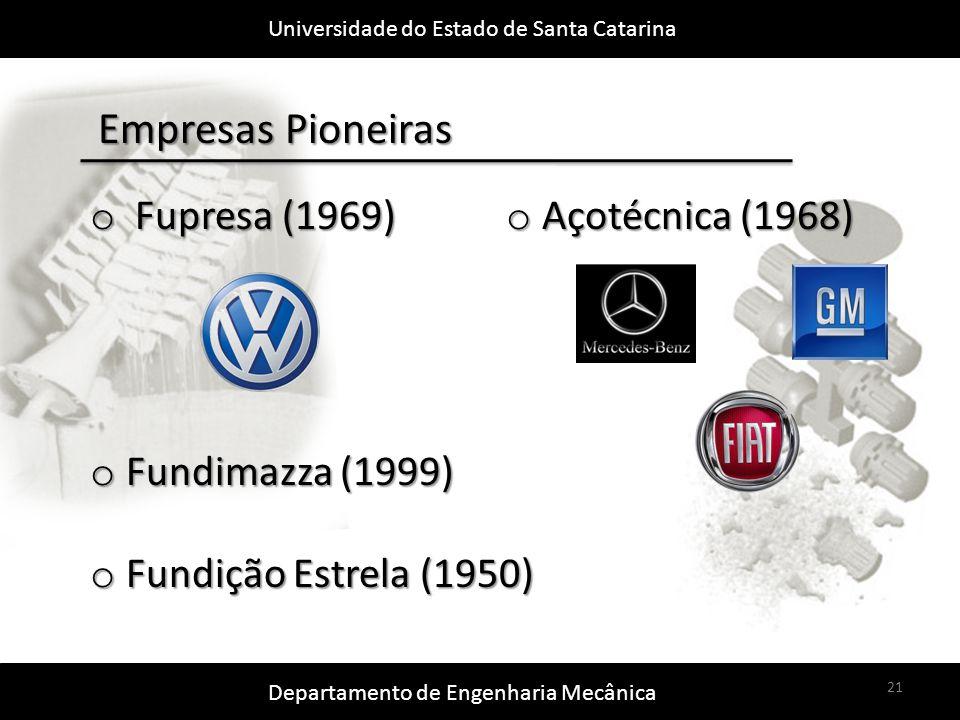 Universidade do Estado de Santa Catarina Departamento de Engenharia Mecânica 21 Empresas Pioneiras o Fupresa (1969) o Fundimazza (1999) o Fundição Estrela (1950) o Açotécnica (1968)