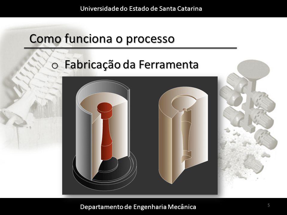 Universidade do Estado de Santa Catarina Departamento de Engenharia Mecânica 5 Como funciona o processo o Fabricação da Ferramenta