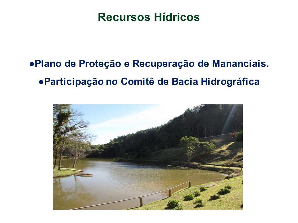 Recursos Hídricos ●Plano de Proteção e Recuperação de Mananciais. ●Participação no Comitê de Bacia Hidrográfica
