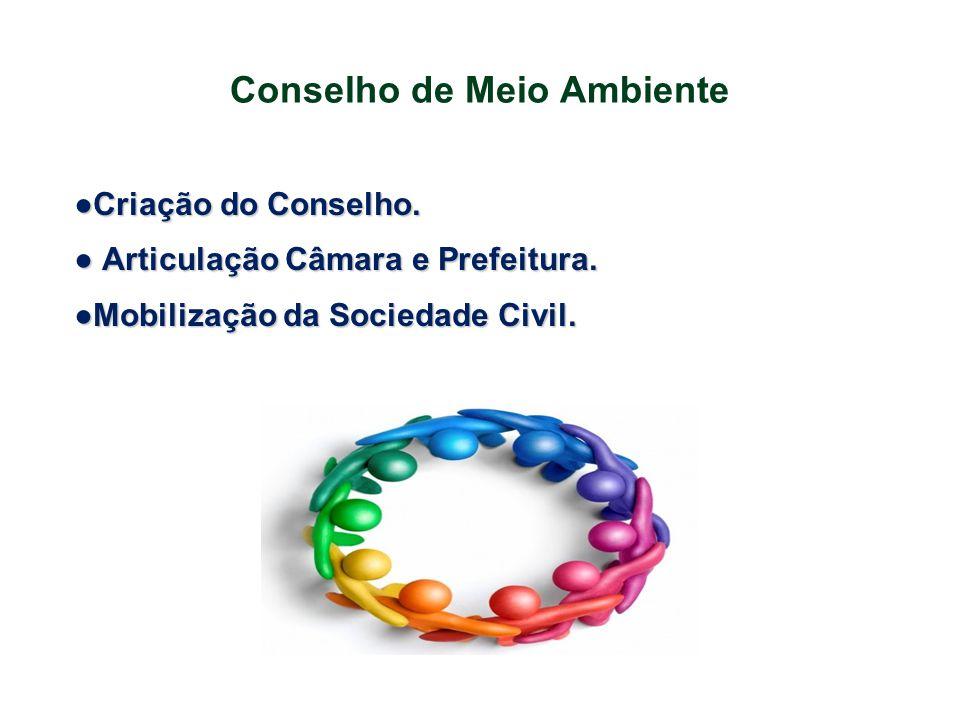 Conselho de Meio Ambiente ●Criação do Conselho. ● Articulação Câmara e Prefeitura. ●Mobilização da Sociedade Civil.
