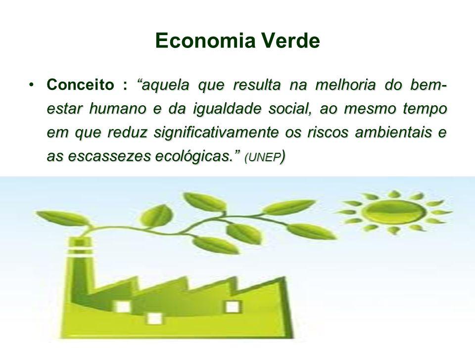 """Economia Verde """"aquela que resulta na melhoria do bem- estar humano e da igualdade social, ao mesmo tempo em que reduz significativamente os riscos am"""