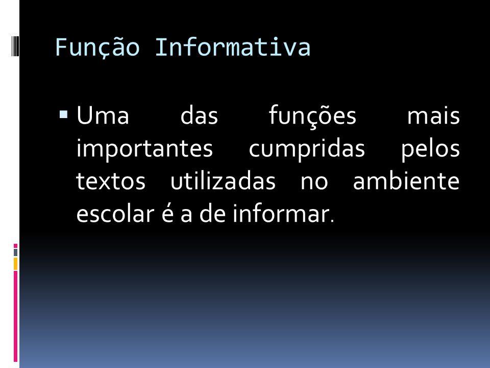 Função Informativa  Uma das funções mais importantes cumpridas pelos textos utilizadas no ambiente escolar é a de informar.