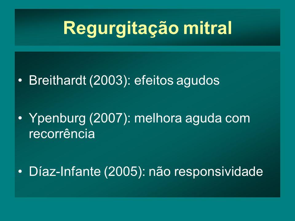 Regurgitação mitral •Breithardt (2003): efeitos agudos •Ypenburg (2007): melhora aguda com recorrência •Díaz-Infante (2005): não responsividade