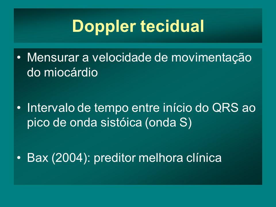 Doppler tecidual •Mensurar a velocidade de movimentação do miocárdio •Intervalo de tempo entre início do QRS ao pico de onda sistóica (onda S) •Bax (2004): preditor melhora clínica