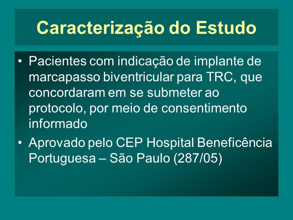 Caracterização do Estudo •Pacientes com indicação de implante de marcapasso biventricular para TRC, que concordaram em se submeter ao protocolo, por meio de consentimento informado •Aprovado pelo CEP Hospital Beneficência Portuguesa – São Paulo (287/05)
