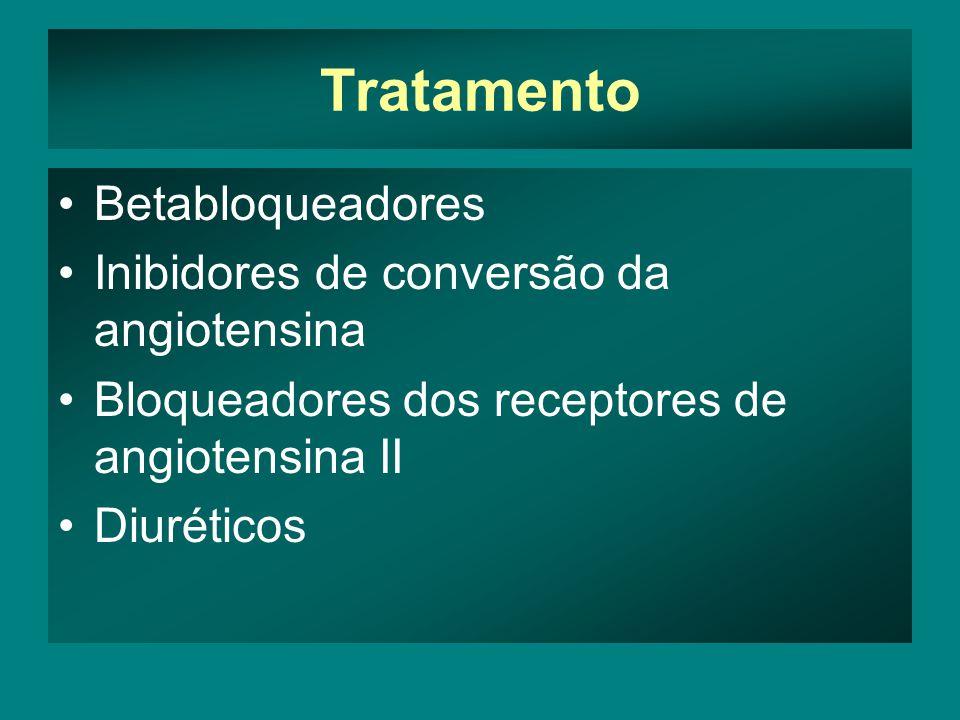 Tratamento •Betabloqueadores •Inibidores de conversão da angiotensina •Bloqueadores dos receptores de angiotensina II •Diuréticos