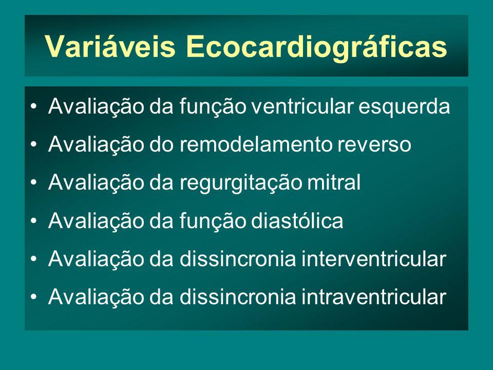 Variáveis Ecocardiográficas •Avaliação da função ventricular esquerda •Avaliação do remodelamento reverso •Avaliação da regurgitação mitral •Avaliação da função diastólica •Avaliação da dissincronia interventricular •Avaliação da dissincronia intraventricular