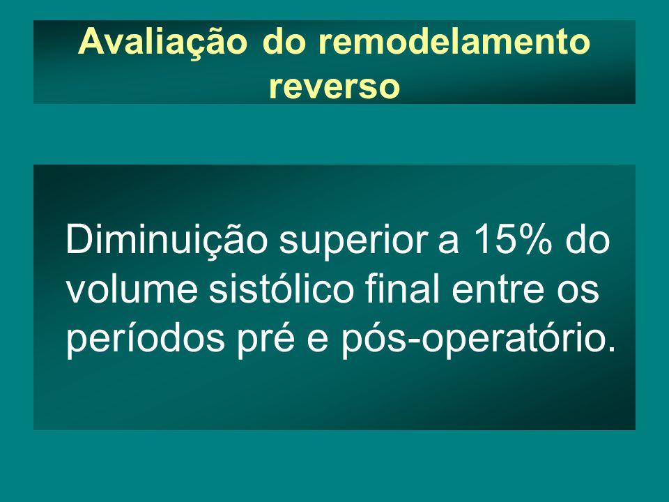 Avaliação do remodelamento reverso Diminuição superior a 15% do volume sistólico final entre os períodos pré e pós-operatório.