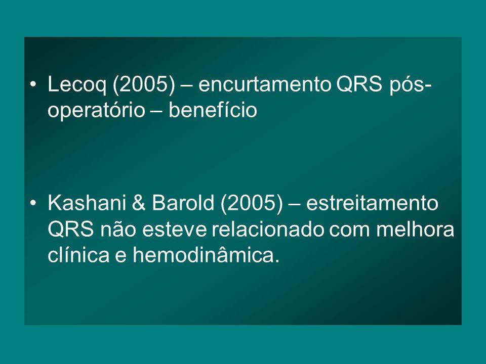 •Lecoq (2005) – encurtamento QRS pós- operatório – benefício •Kashani & Barold (2005) – estreitamento QRS não esteve relacionado com melhora clínica e hemodinâmica.