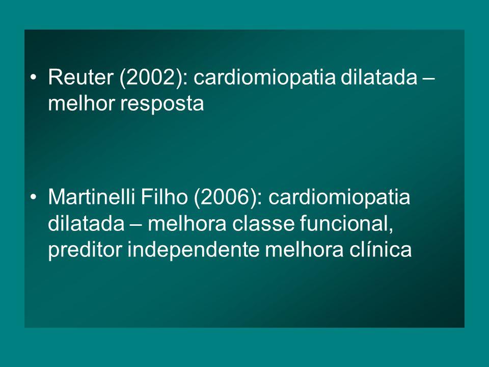 •Reuter (2002): cardiomiopatia dilatada – melhor resposta •Martinelli Filho (2006): cardiomiopatia dilatada – melhora classe funcional, preditor independente melhora clínica