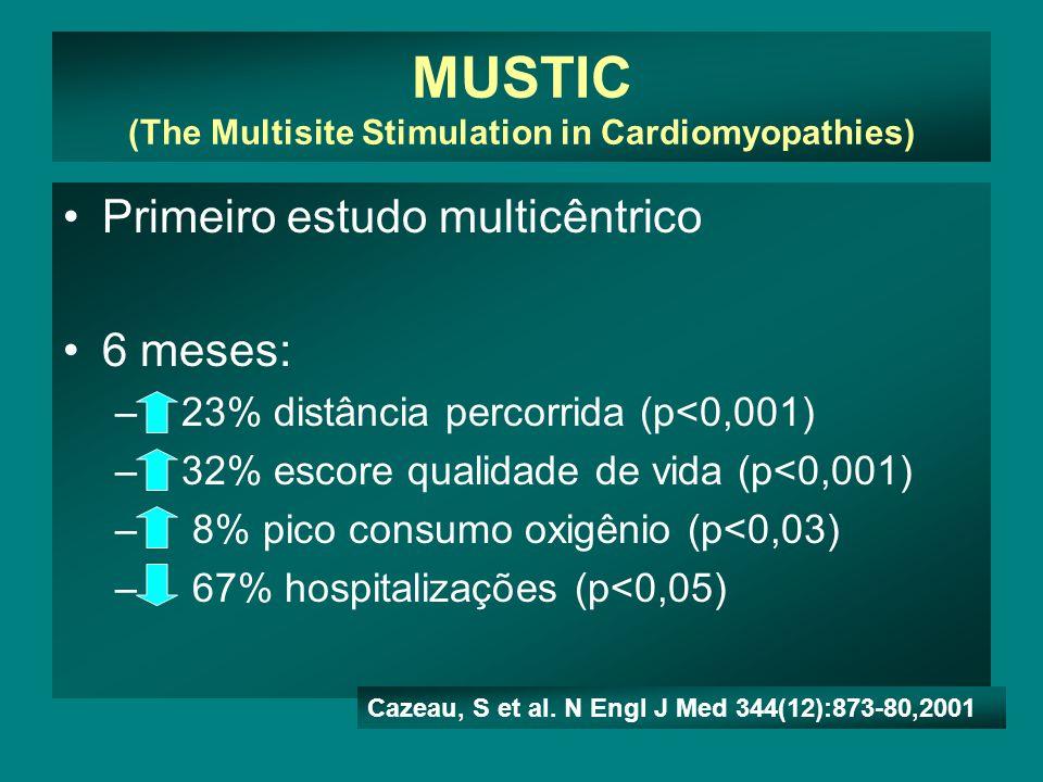 MUSTIC (The Multisite Stimulation in Cardiomyopathies) •Primeiro estudo multicêntrico •6 meses: – 23% distância percorrida (p<0,001) – 32% escore qualidade de vida (p<0,001) – 8% pico consumo oxigênio (p<0,03) – 67% hospitalizações (p<0,05) Cazeau, S et al.