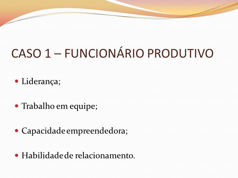 CASO 1 – FUNCIONÁRIO PRODUTIVO  Liderança;  Trabalho em equipe;  Capacidade empreendedora;  Habilidade de relacionamento.