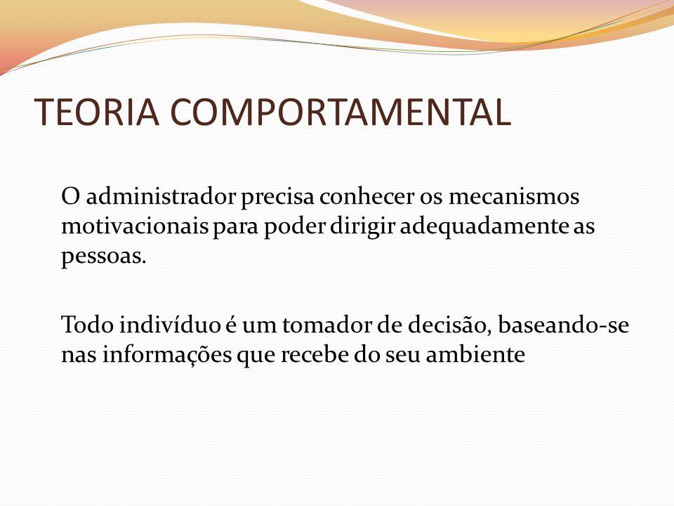 TEORIA COMPORTAMENTAL O administrador precisa conhecer os mecanismos motivacionais para poder dirigir adequadamente as pessoas. Todo indivíduo é um to