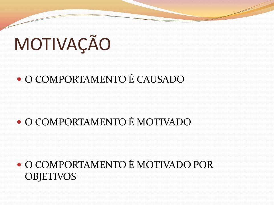 MOTIVAÇÃO  O COMPORTAMENTO É CAUSADO  O COMPORTAMENTO É MOTIVADO  O COMPORTAMENTO É MOTIVADO POR OBJETIVOS