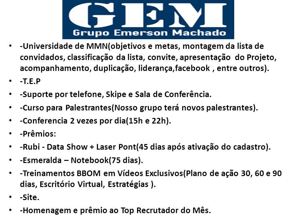 Grupo Emerson Machado • -Universidade de MMN(objetivos e metas, montagem da lista de convidados, classificação da lista, convite, apresentação do Proj