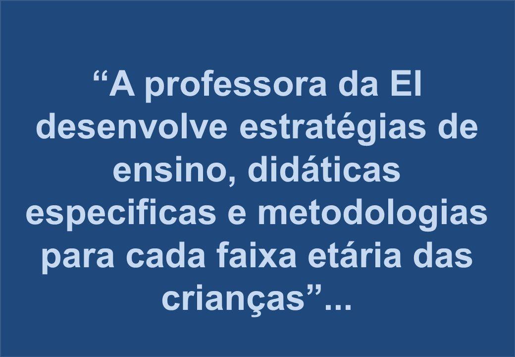 """""""A professora da EI desenvolve estratégias de ensino, didáticas especificas e metodologias para cada faixa etária das crianças""""..."""