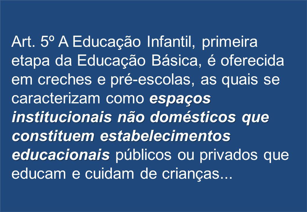 espaços institucionais não domésticos que constituem estabelecimentos educacionais Art. 5º A Educação Infantil, primeira etapa da Educação Básica, é o