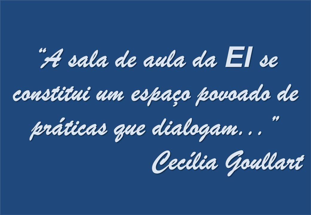 """""""A sala de aula da EI se constitui um espaço povoado de práticas que dialogam..."""" Cecília Goullart"""