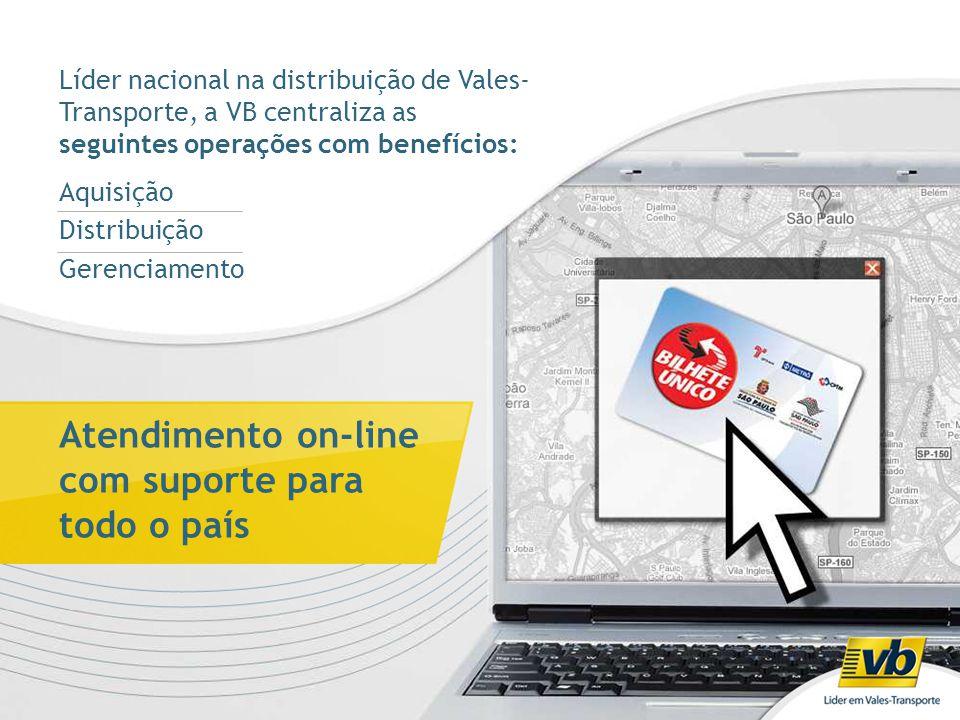 Líder nacional na distribuição de Vales- Transporte, a VB centraliza as seguintes operações com benefícios: Aquisição Distribuição Gerenciamento Atend