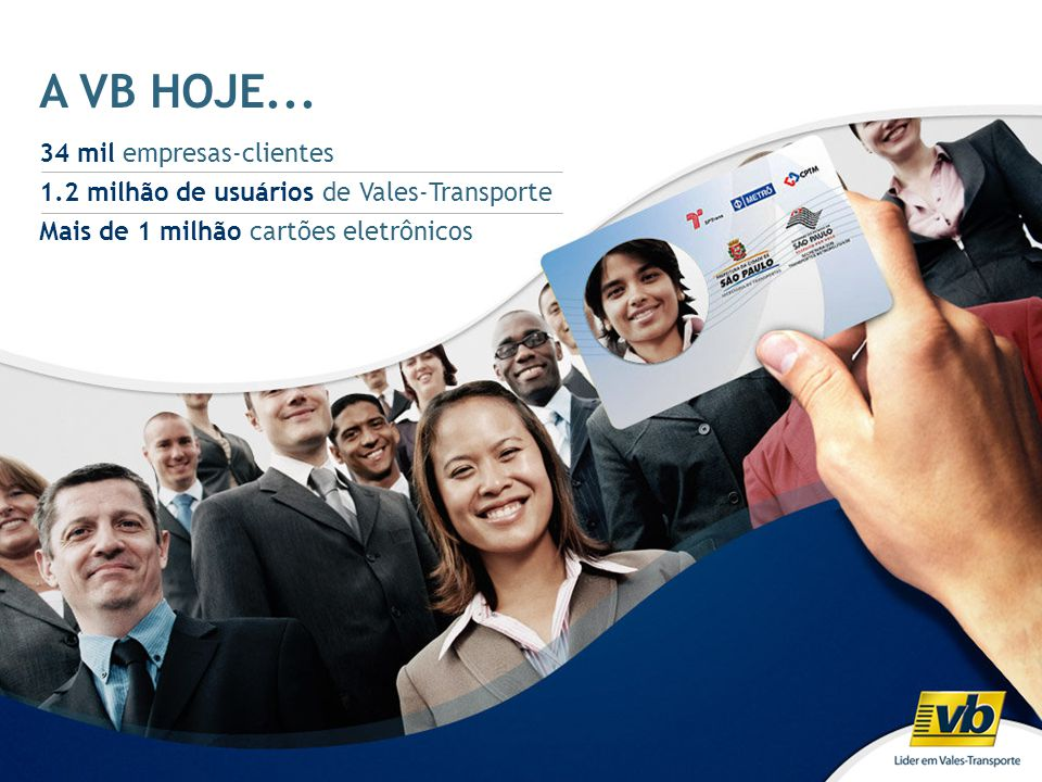 A VB HOJE... 34 mil empresas-clientes 1.2 milhão de usuários de Vales-Transporte Mais de 1 milhão cartões eletrônicos