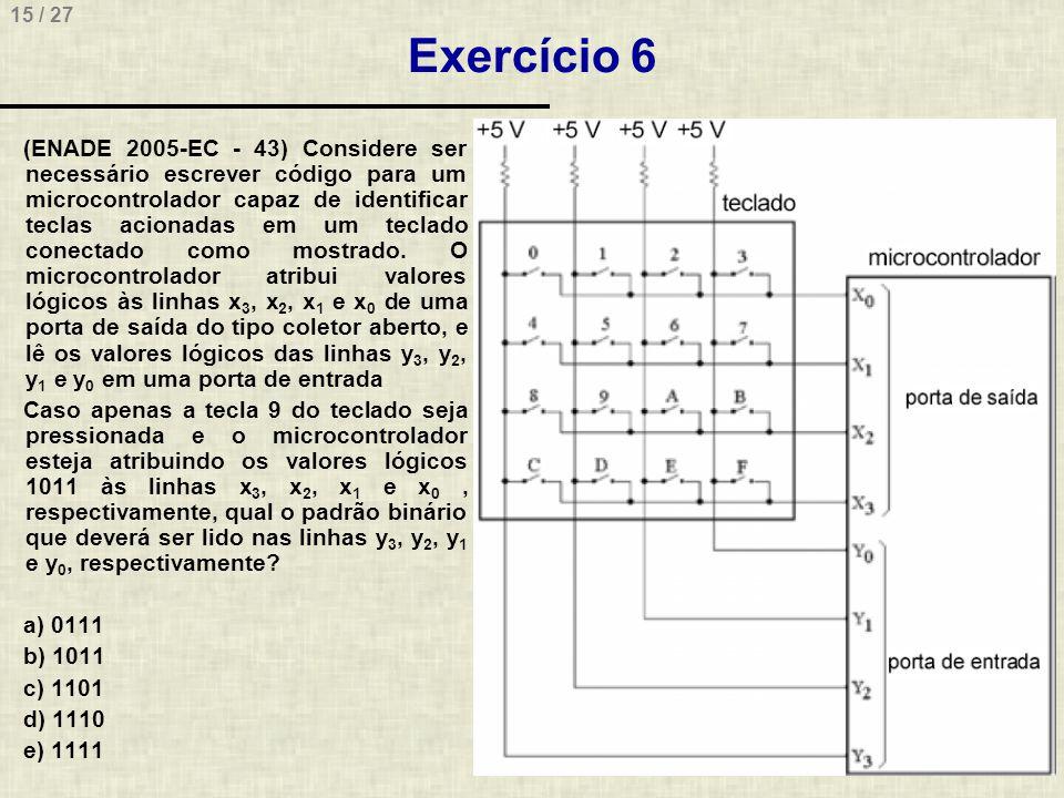 15 / 27 Exercício 6 (ENADE 2005-EC - 43) Considere ser necessário escrever código para um microcontrolador capaz de identificar teclas acionadas em um