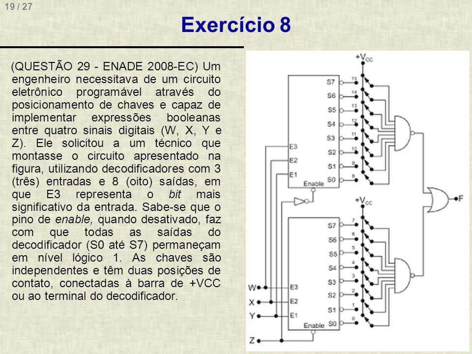 19 / 27 Exercício 8 (QUESTÃO 29 - ENADE 2008-EC) Um engenheiro necessitava de um circuito eletrônico programável através do posicionamento de chaves e