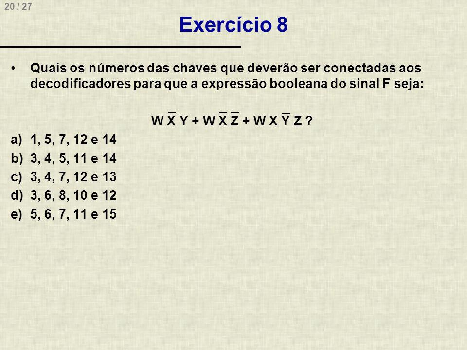 20 / 27 Exercício 8 •Quais os números das chaves que deverão ser conectadas aos decodificadores para que a expressão booleana do sinal F seja: W X Y +