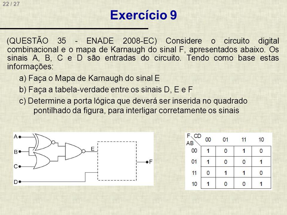 22 / 27 Exercício 9 (QUESTÃO 35 - ENADE 2008-EC) Considere o circuito digital combinacional e o mapa de Karnaugh do sinal F, apresentados abaixo. Os s