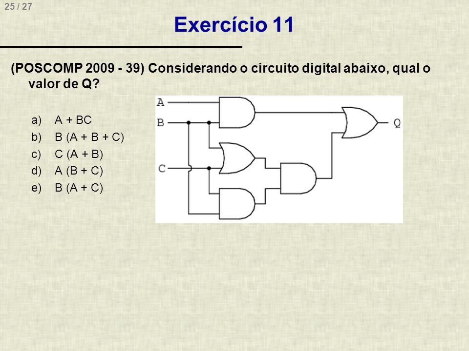 25 / 27 Exercício 11 (POSCOMP 2009 - 39) Considerando o circuito digital abaixo, qual o valor de Q? a)A + BC b)B (A + B + C) c)C (A + B) d)A (B + C) e