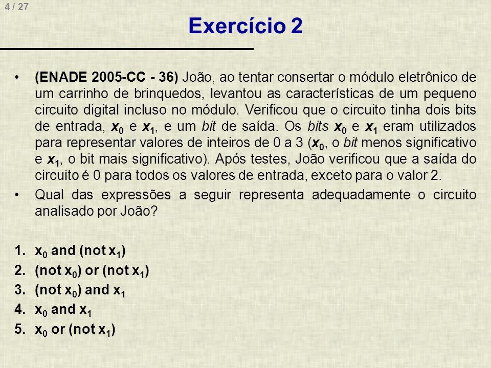 25 / 27 Exercício 11 (POSCOMP 2009 - 39) Considerando o circuito digital abaixo, qual o valor de Q.