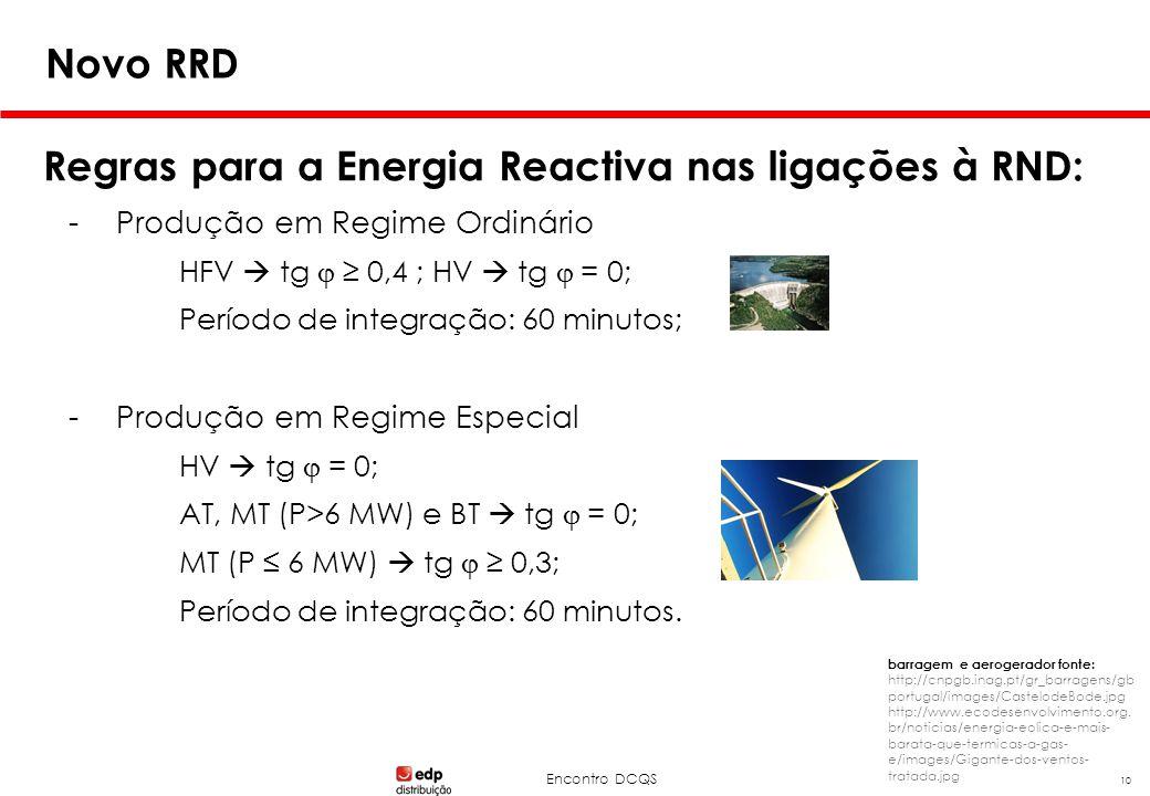 Encontro DCQS 10 Novo RRD Regras para a Energia Reactiva nas ligações à RND: -Produção em Regime Ordinário HFV  tg  ≥ 0,4 ; HV  tg  = 0; Período