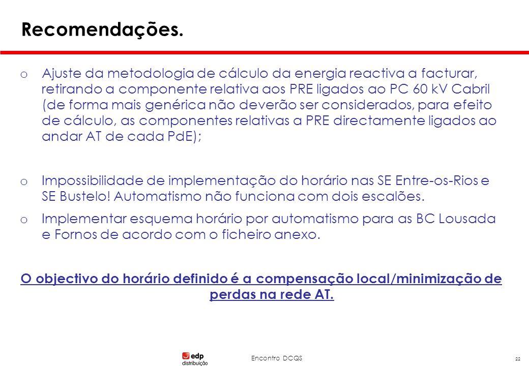 Encontro DCQS 22 Recomendações. o Ajuste da metodologia de cálculo da energia reactiva a facturar, retirando a componente relativa aos PRE ligados ao