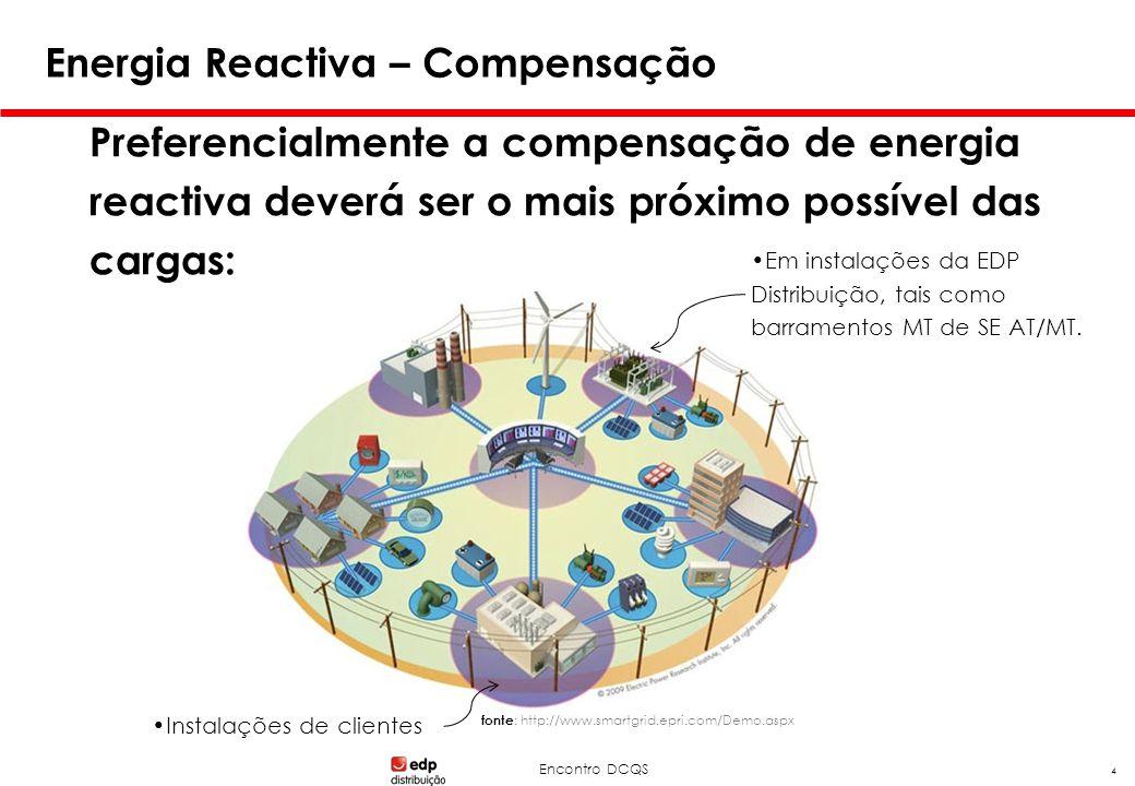 Encontro DCQS 4 Energia Reactiva – Compensação Preferencialmente a compensação de energia reactiva deverá ser o mais próximo possível das cargas: •Em