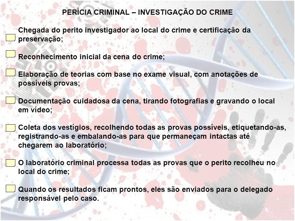 Chegada do perito investigador ao local do crime e certificação da preservação; Reconhecimento inicial da cena do crime; Elaboração de teorias com bas