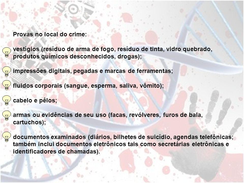Provas no local do crime: vestígios (resíduo de arma de fogo, resíduo de tinta, vidro quebrado, produtos químicos desconhecidos, drogas); impressões d