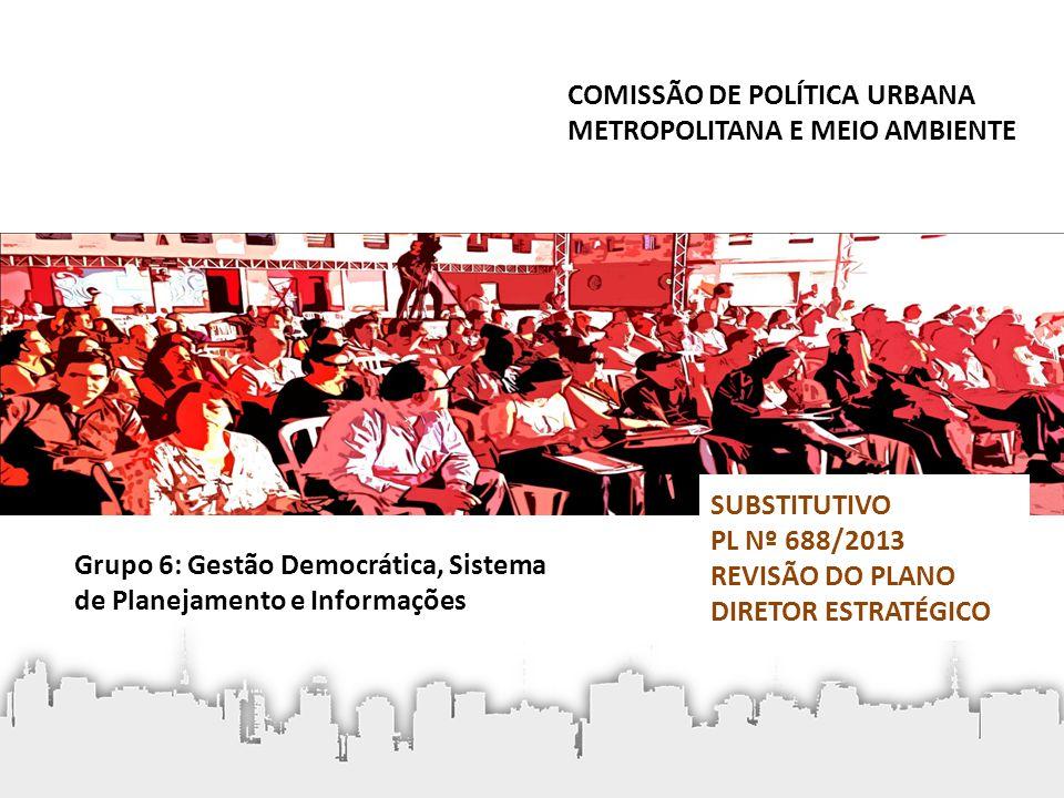 • Competências: – debater as diretrizes para áreas públicas municipais; – acompanhar a aplicação dos recursos arrecadados pelo FUNDURB; – acompanhar a prestação de contas do FUNDURB; – promover a articulação entre os conselhos setoriais; – encaminhar propostas e ações voltadas para o desenvolvimento urbano; – encaminhar propostas aos Órgãos Municipais e Conselhos Gestores dos Fundos Públicos Municipais com o objetivo de estimular a implementação das ações prioritárias do PD; Conselho Municipal de Política Urbana