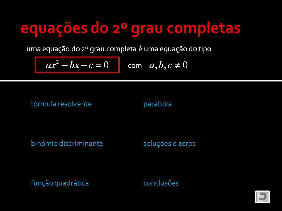 uma equação do 2º grau completa é uma equação do tipo com fórmula resolvente binómio discriminante função quadrática parábola soluções e zeros conclus