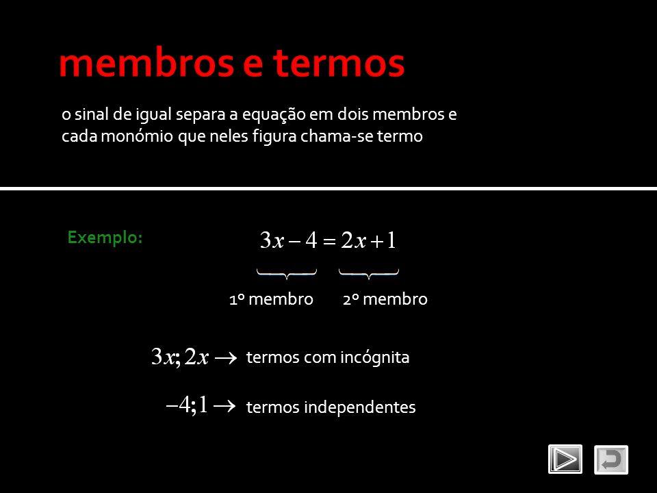 o sinal de igual separa a equação em dois membros e cada monómio que neles figura chama-se termo Exemplo: 1º membro2º membro termos com incógnita term