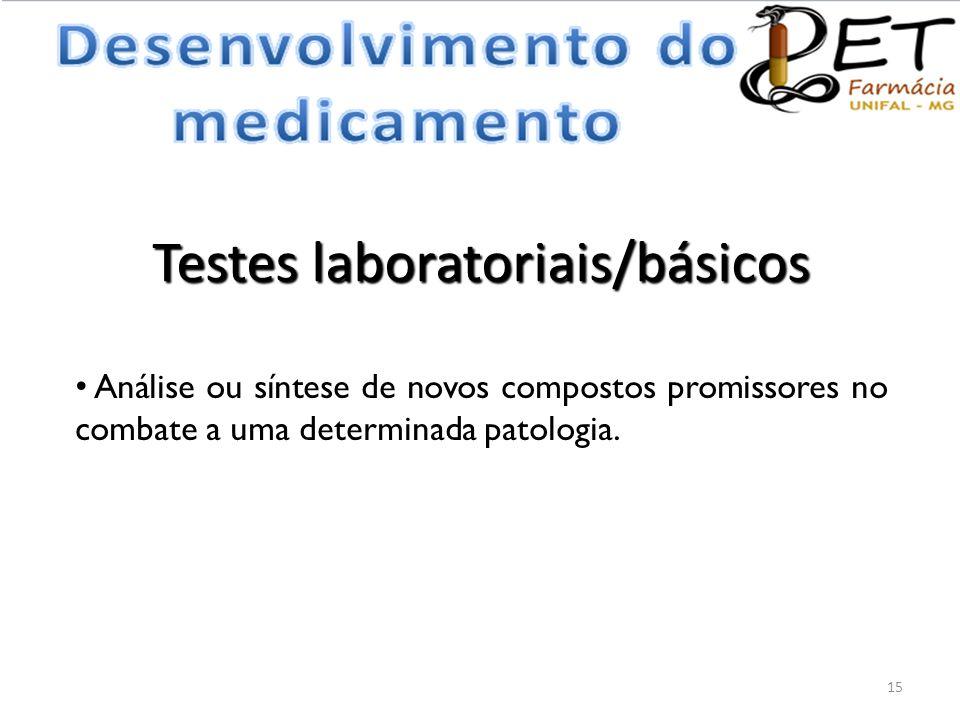 Testes laboratoriais/básicos • Análise ou síntese de novos compostos promissores no combate a uma determinada patologia. 15